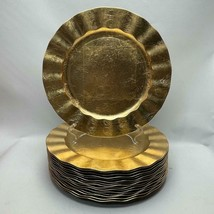 """Set of 16 Plastic Gold 12.75"""" Plastic Scallopped Charger Plates Platters - $29.69"""