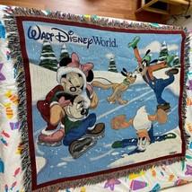 Walt Disney World Mickey Minnie Mouse Skating Christmas 60x50 Throw Blanket - $34.93