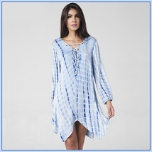 Loose Irregular Hem Tie Dye Long Sleeve Deep V Neck Lace Up Eyeletts Mini Dress