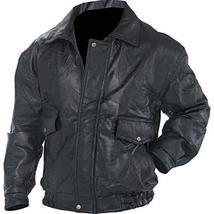 Mens Aviator Biker Flight Coat Bomber Motorcycle Black Leather Jacket image 1