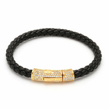 King Ice 18K Gold Plated Cylinder Black Studded Italian Leather Rope Bracelet