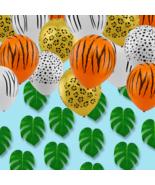 Safari Jungle Animal Theme Birthday Party Balloons +12 Green Tropical Le... - $18.69