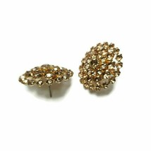 Vintage Round Faux Topaz Rhinestone Cluster Gold Tone Domed Cocktail Ear... - $13.85