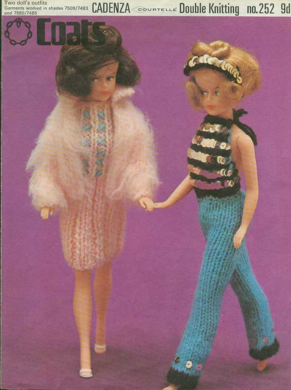 Vintage knitting pattern for Fashion dolls. Sindy Barbie. Coats 252 PDF