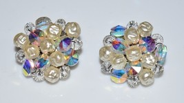 VTG Silver Toned Clear AB Crystal Faux Baroque Pearl Cluster Clip Earrings - $29.70