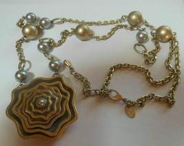 Lia Sophia Gold-tone & Gray Enamel Faux Pearl Bead Chain Pendant Necklace - $24.50