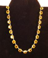 Amber Rhinestone Diamond Cut Glass Necklace C1940s - $14.95