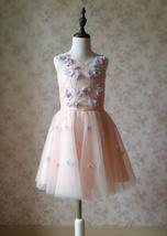 Flower Girl Dress, Sleeveless High Waist Girl Dress Princess Dress - Blush Pink  image 2
