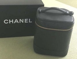 Auth CHANEL Vanity Vintage Black Leather Logo Quilted Zipper Mini Pouch ... - $394.02