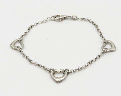 925 Sterling Silver - Delicate Petite Rolo Link Love Heart Bracelet - B1520