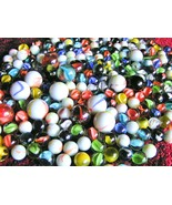 "TWO-HUNDRED glass marbles. Mixed lot, BIG and small 5/8"" to 1"" New Old s... - $34.98"