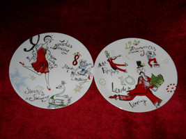 Lenox 12 days of christmas 2 salad plates 10 lords and 8 maids - $9.85