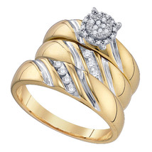 10K Yellow Gold Round Diamond His Hers Matching Wedding Bridal Ring Band Set 1/5 - £539.58 GBP