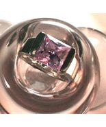 Amethyst Ring 2.5 Ct Sterling Silver Modern Bar... - $45.00