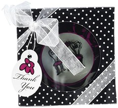 "Artisano Designs""Bistro for Two"" Round Glass Coaster Favors in Designer ... - $9.69"