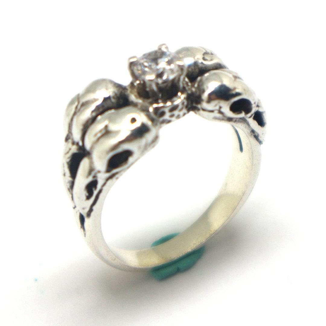 Silver Raven Skull Ring image 3
