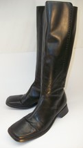 Ann Taylor Womens Boots US 7M Tall Black Leather Zip Leather Sole Dress ... - $55.71