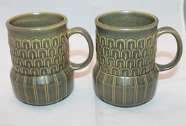 Set of 2 Vintage Wedgwood Cambrian Green Coffee Tea Mug Cup Made in England - $49.30
