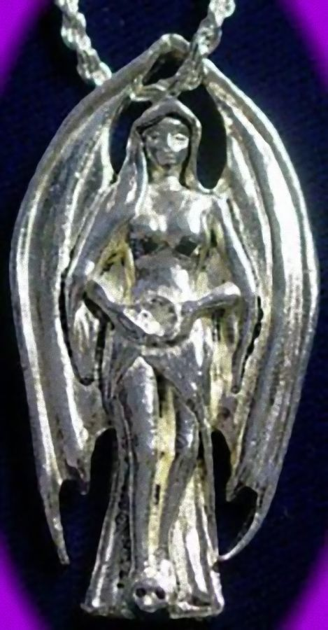 Primary image for LOOK Gothic WICCAN ANGEL LILITH Celtic Silver Charm Pendant