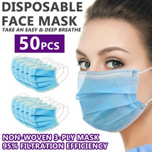 Disposable Face Mask Non Medical Surgical [50 PCS] 3-Ply Earloop Mouth C... - $15.95