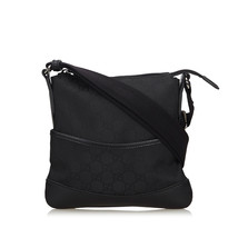 Pre-Loved Gucci Black Canvas Fabric GG Crossbody Bag Italy - $401.12