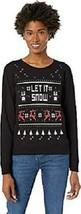 Holiday CHRISTMAS Sweater - Let it Snow - Black & Silver - Medium M - $34.95