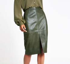 Women Skirts Autumn Office Faux Leather Formal High Waist Midi Pencil Back Split - $28.00