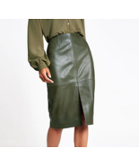 Women Skirts Autumn Office Faux Leather Formal High Waist Midi Pencil Ba... - $28.00