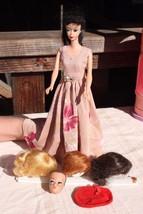 Barbie Doll #4 Brunette Ponytail 1960's, 4 Heads, Red Tam Hat - $437.93