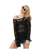 Vintage Loose Fit Floral Crochet Lace Black White Long Sleeve Tunic Top ... - $19.99