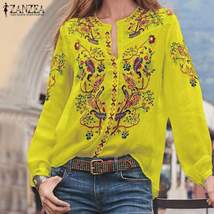 Bohemian Printed Tops Women's Autumn Blouse ZANZEA 2019 Plus Size Tunic ... - $21.63