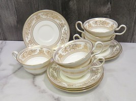 Set of 6 Wedgwood Gold Columbia White Cups and Saucers - $138.60