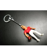 Key Chain Plastic Tan Blonde Bowler with Red Shirt and Tight White Pants - $7.99