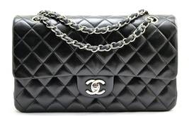 "CHANEL 10"" Black LAMBSKIN Leather MEDIUM Classi... - $3,528.00"