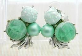 Green Molded Acylic Glass Bead Beaded Silver Tone Cluster Earrings Vintage - $19.79