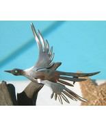 Vintage Sterling Silver Bird In Flight Modernist Abstract Pin Brooch - $24.95