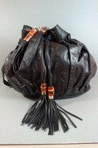 GUCCI Black Leather NEW Shoulder Bucket Bag XL Bamboo Tassels Hobo Tote ... - $1,400.07