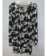 BCBG MAXAZRIA Womens sz XL TUNIC DRESS Long Sleeve Black White Floral - $24.72