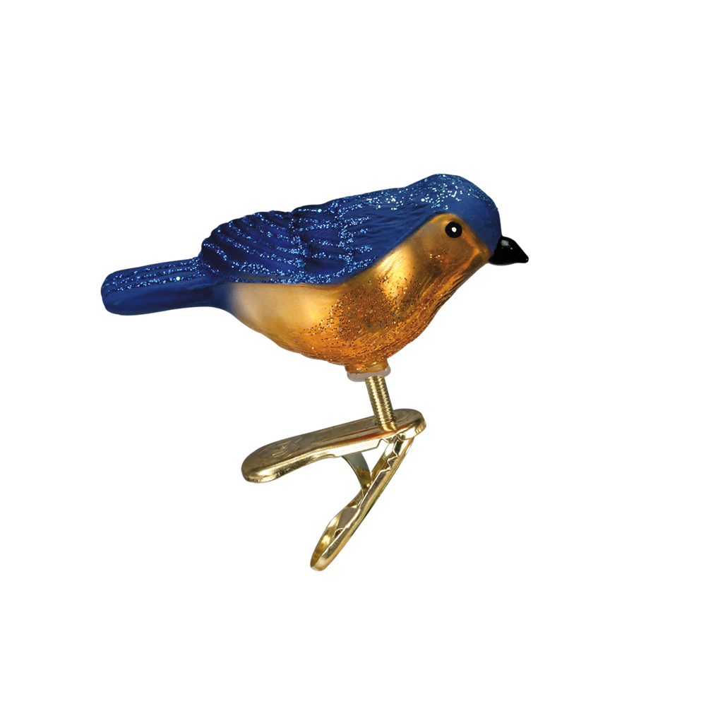 Primary image for OLD WORLD CHRISTMAS MINI SONGBIRD BLUEBIRD CLIP-ON GLASS ORNAMENT 18042