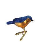 OLD WORLD CHRISTMAS MINI SONGBIRD BLUEBIRD CLIP-ON GLASS ORNAMENT 18042 - $8.88
