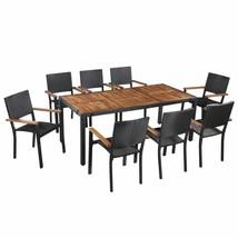 vidaXL Solid Acacia Wood Outdoor Dining Set 5/7/9 Pieces Poly Rattan Fur... - $351.99