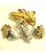 Crystal Dangle Brooch Earrings Set Demi - $44.95