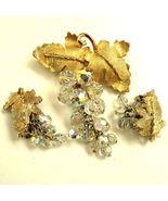 Crystal Dangle Brooch Earrings Set Demi - $44.95
