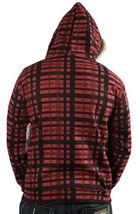 Cardboard Robot Mens Red Black Plaid Deer Antler Rack Zip Up Hoodie Medium NWT image 3