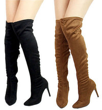 Breckelles Beverly-15 Over the Knee Pointy Toe Thigh High Stiletto Heels... - $24.99