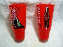 Vintage Collectible Pair 1990's NOS 44oz COCA-COLA Red Plastic Cups-Diner-Home!! - $19.95