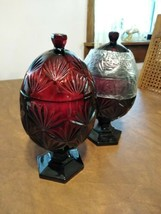Luminarc Durand Cristal d'Arques Deep Cut Ruby Red Egg Shaped Candy Dish... - $40.00