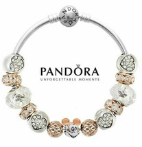 Authentic Pandora Bracelet S925 with 13 charms Disney Mickey Mouse Rode ... - $69.99