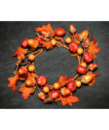 Fall Candle Ring with Acorns, Leaves, Pumpkins - $6.99