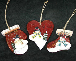 Set of 3 Wooden Christmas Ornaments with Snowmen - $10.99